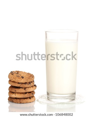 Glass of milk and cookies isolated on white - stock photo