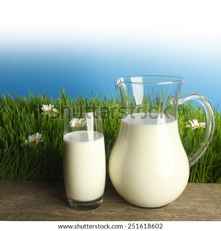 Glass of milk and jar on fresh grass meadow with chamomiles - stock photo