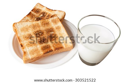 Glass of milk and toast isolate in white background - stock photo