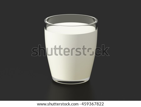 Glass of milk isolated on black background. 3d render