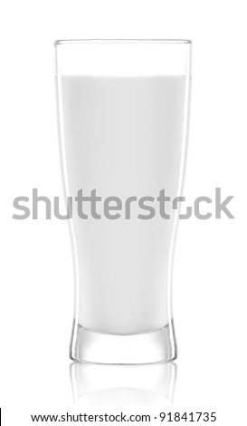 Glass of milk. Isolated on white background