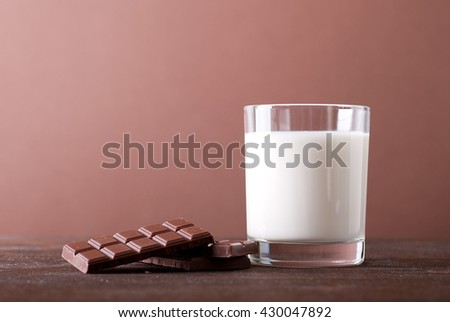 glass of milk on a chocolate background