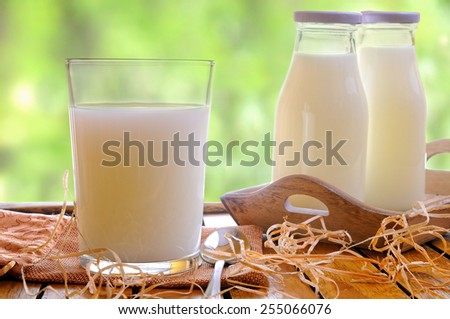 Glass of milk on a table on the field with two bottles of milk front view - stock photo