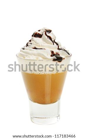 Glass of mocha with cream isolated on white - stock photo