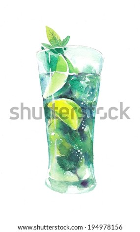 Glass of mojito - stock photo