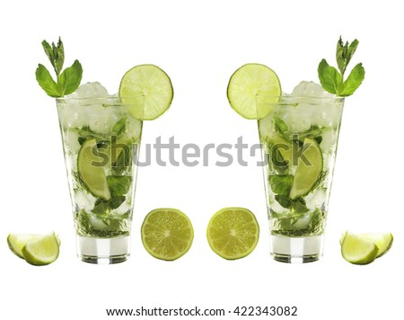 glass of mojito isolated on white background. double mojito long drink, delicious and refreshing - stock photo