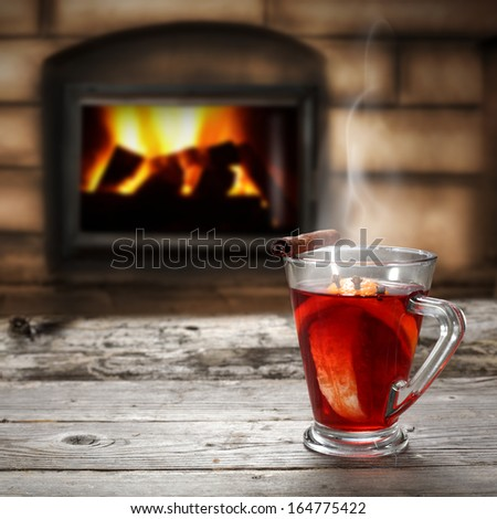 glass of mulled - stock photo