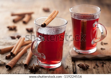 glass of mulled wine - stock photo