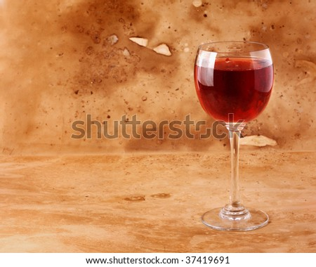 Glass of old red wine