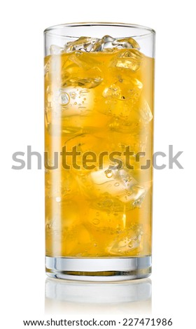 Glass of orange carbonated lemonade on white background. With clipping path - stock photo
