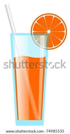 Glass of orange juice - stock photo
