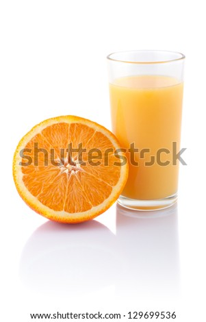 Glass of orange juice and orange slice isolated on white.
