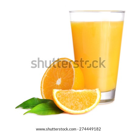 Glass of orange juice isolated on white - stock photo