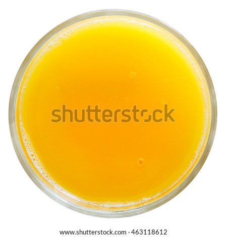 Glass of orange juice isolated on white from above.