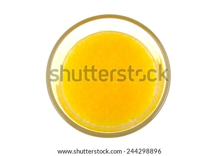 Glass of orange juice isolated on white. Top view - stock photo