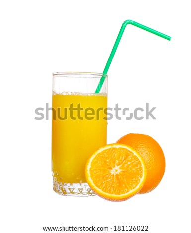 glass of orange juice with a green cocktail straw - stock photo