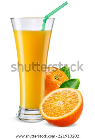 Glass of orange juice with fruit isolated on white. - stock photo