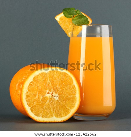Glass of orange juice with mint and orange on grey background