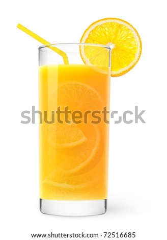 Glass of orange juice with peaces of orange inside - stock photo