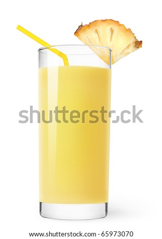 Glass of pineapple juice isolated on white - stock photo