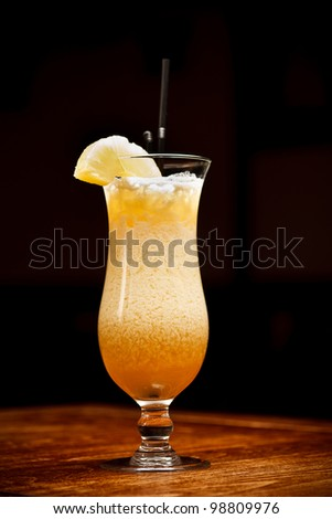 Glass of pineapple juice on bar tabel