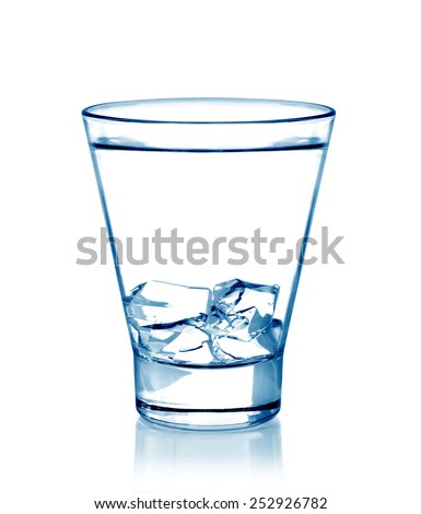Glass of pure water with ice cubes isolated on white background
