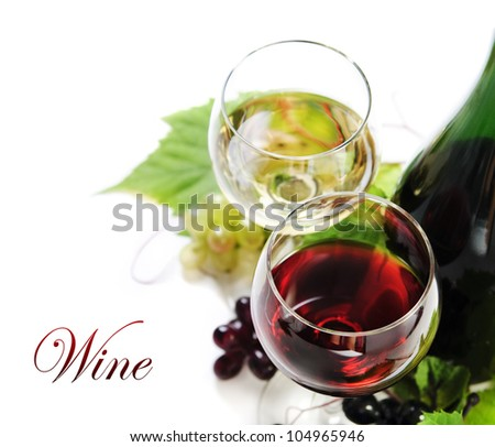 Glass of red and white wine - stock photo