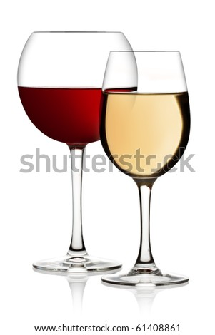 Glass of red and white wine on a white background and with soft shadow. The file includes a clipping path. - stock photo