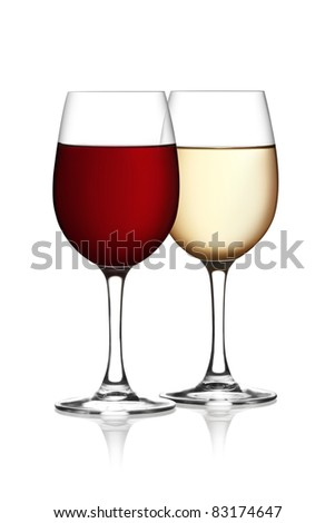 Glass of red and white wine on a white background. The file includes a clipping path. - stock photo