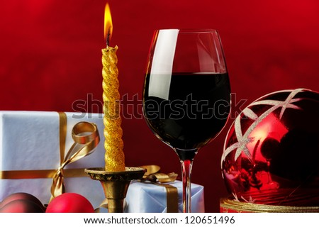 glass of red,Christmas decoration,gifts - stock photo