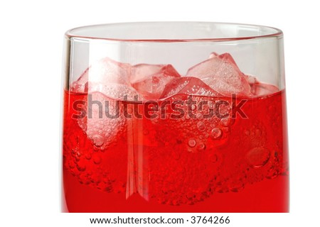 Glass of red drink with ice closeup (1)