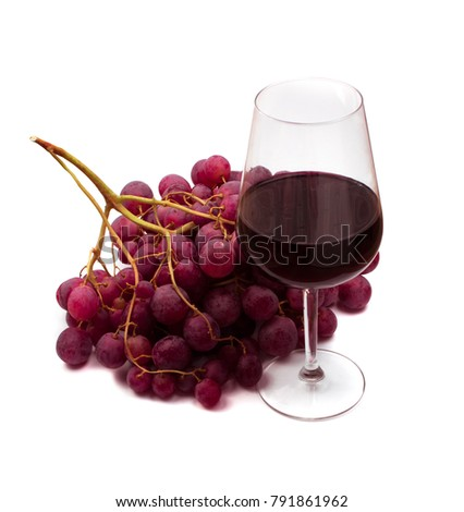 Glass of Red Dry Wine and Grapes Isolated on White Background. Healthy Alcoholic Drink