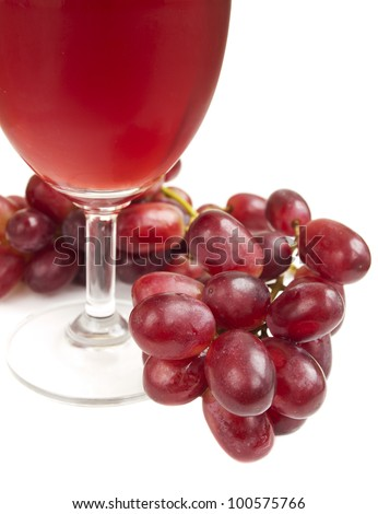 Glass of Red Grape Juice on a white background