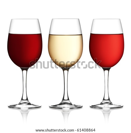 Glass of red, pink and white wine on a white background and with soft shadow. The file includes a clipping path. - stock photo