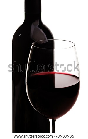 Glass of red wine and bottle over white background - stock photo