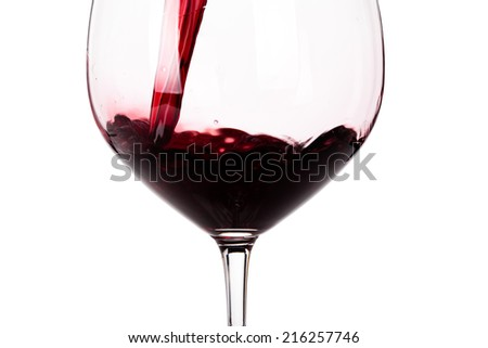 Glass of red wine closeup isolated on white background - stock photo