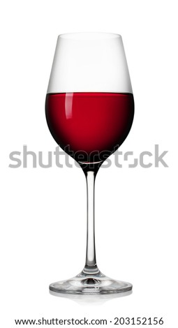 Glass of red wine isolated on white background - stock photo