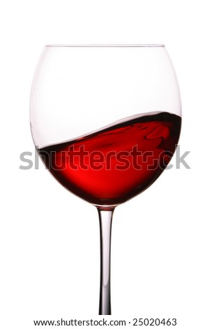 Glass of red wine isolated over white background - stock photo