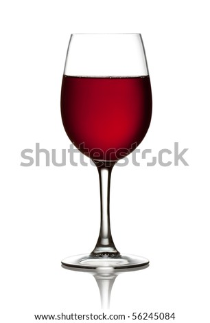 Glass of red wine on a white background and with soft shadow. The file includes a clipping path.
