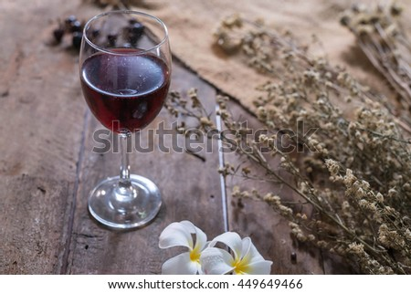Glass of Red Wine on the wooden table,vintage style