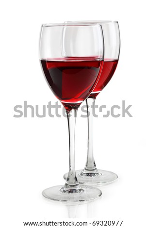 glass of red wine on white background - stock photo