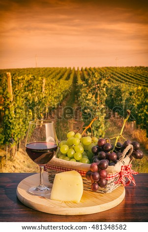 Glass of red wine with grapes in a basket and cheese in front of a vineyard at sunset