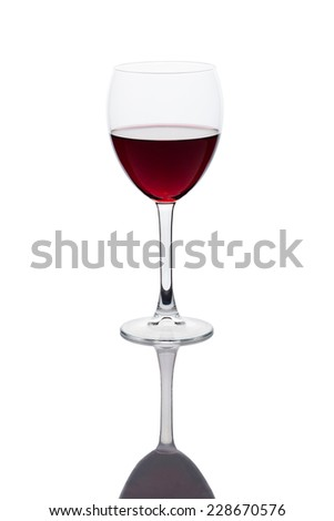glass of red wine with reflection, isolated with clipping path