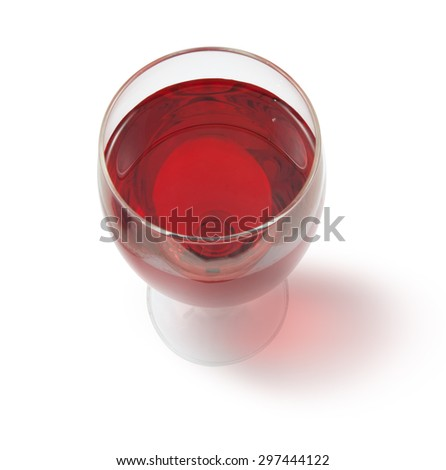 glass of red wine with shadow top view - stock photo