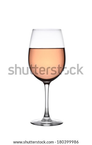 Glass of rose wine cutout, isolated on white background - stock photo