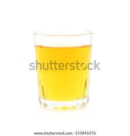 Glass of scotch whiskey, isolated on white background