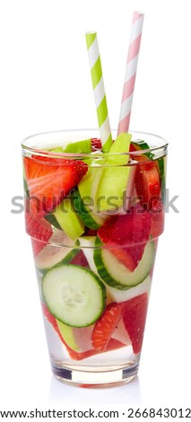 Glass of strawberry, apple, cucumber detox water isolated on white background - stock photo
