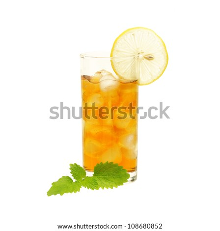 Glass of tea with lemon and lemon balm isolated on  white - stock photo