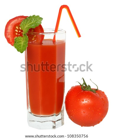 Glass of tomato juice and full tomato isolated.
