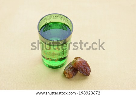 Glass of Water and dates - stock photo